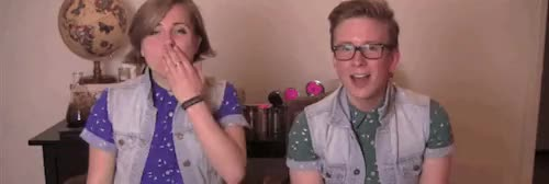 Watch I am so offended that mydrunkkitchen and tyleroakley broke t GIF on Gfycat. Discover more hanler, hannah hart, my drunk kitchen, they are so cute, tyler oakley, youtube, youtuber GIFs on Gfycat