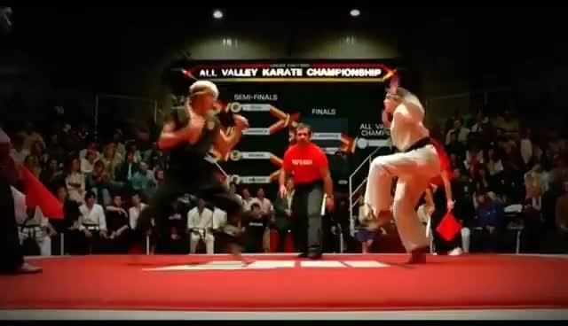 "Watch and share ""Karate Kid"" (HD) -- Best Scene -- 'Crane Kick'   (1984, Original) GIFs on Gfycat"