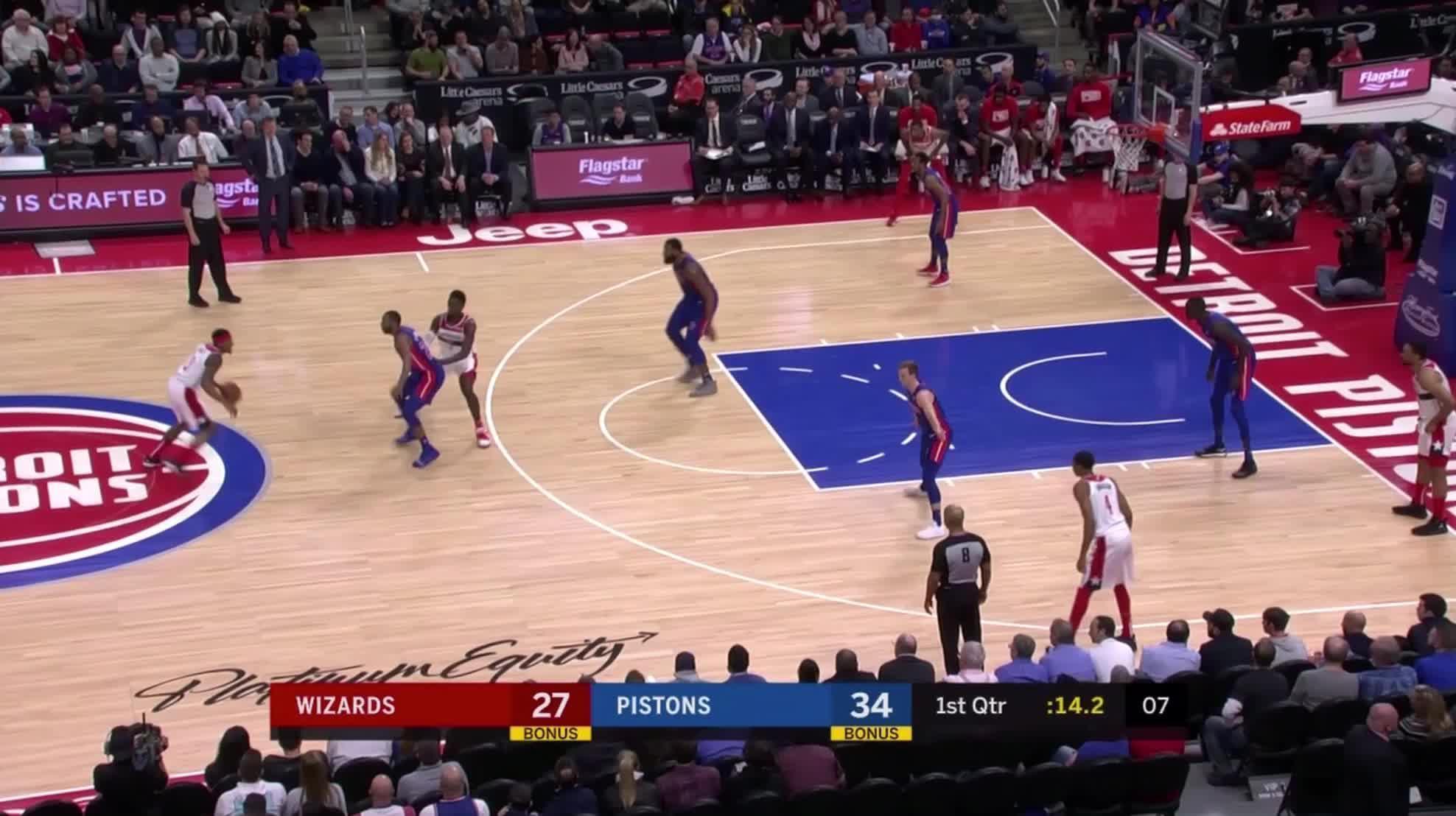 Detroit Pistons, Thon Maker, Washington Wizards, basketball, Thon Maker weakaside block Wiz GIFs