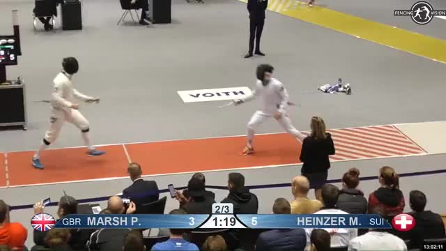Watch MARSH P 4 GIF by Scott Dubinsky (@fencingdatabase) on Gfycat. Discover more gender: male, leftname: MARSH P, leftscore: 4, rightname: HEINZER M, rightscore: 5, time: 00011492, touch: left, tournament: heidenheim2019, weapon: epee GIFs on Gfycat
