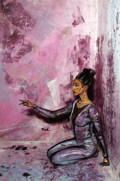 art, artists, black artists, black dancers, bodypainting, bree gant, dance, flaco shalom, my art, From Flaco Shalom's Little Black Tutus 3D Painting SeriesMod GIFs