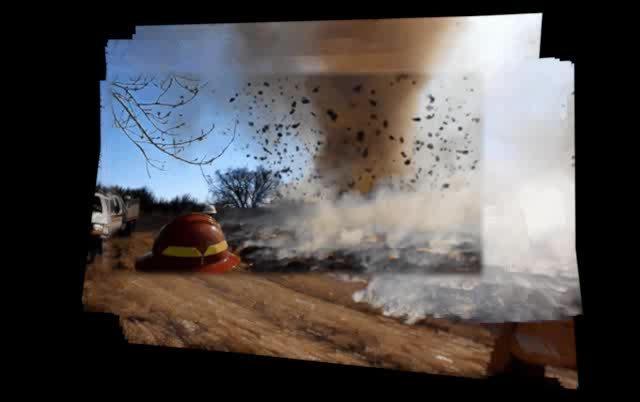 nononono, When a dust devil forms over a grassfire and tumbleweeds (reddit) GIFs
