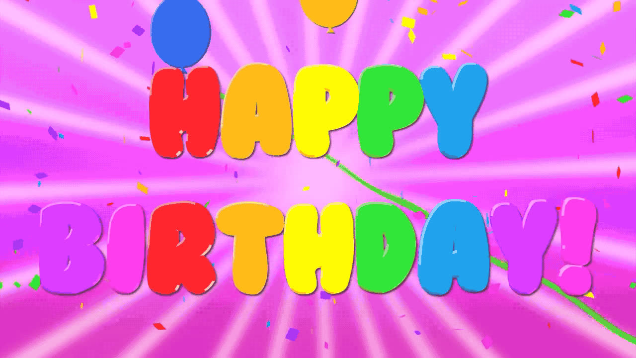 ballons, bday, best, birthday, cake, celebrate, celebrating, color, confetti, exciting, happy, happy birthday, old, party, pink, tada, to, wishes, you, Happy birthday to you GIFs