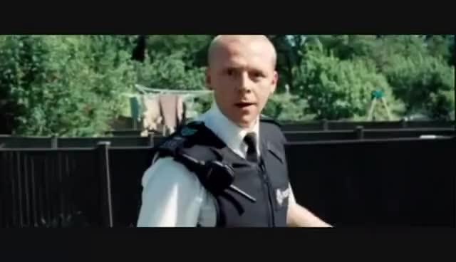 Watch and share Hot Fuzz Fence Jump GIFs on Gfycat