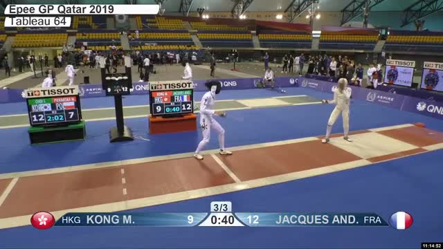Watch KONG M 9 GIF by Scott Dubinsky (@fencingdatabase) on Gfycat. Discover more gender:, leftname: KONG M, leftscore: 9, rightname: IACQUES AND, rightscore: 13, time: 00010168, touch: right, tournament: doha2019, weapon: epee GIFs on Gfycat