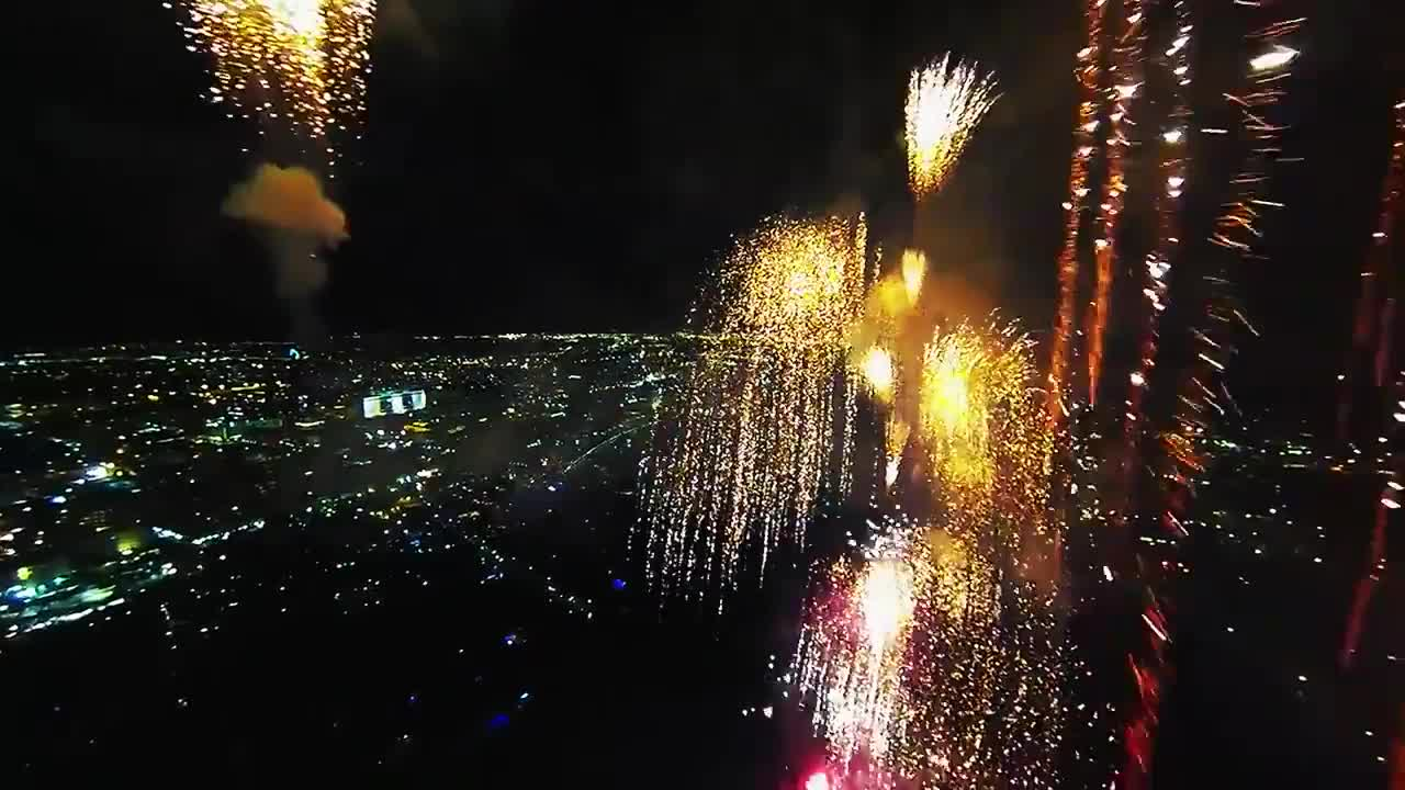 drone, Footage from a drone flying inside a firework show GIFs