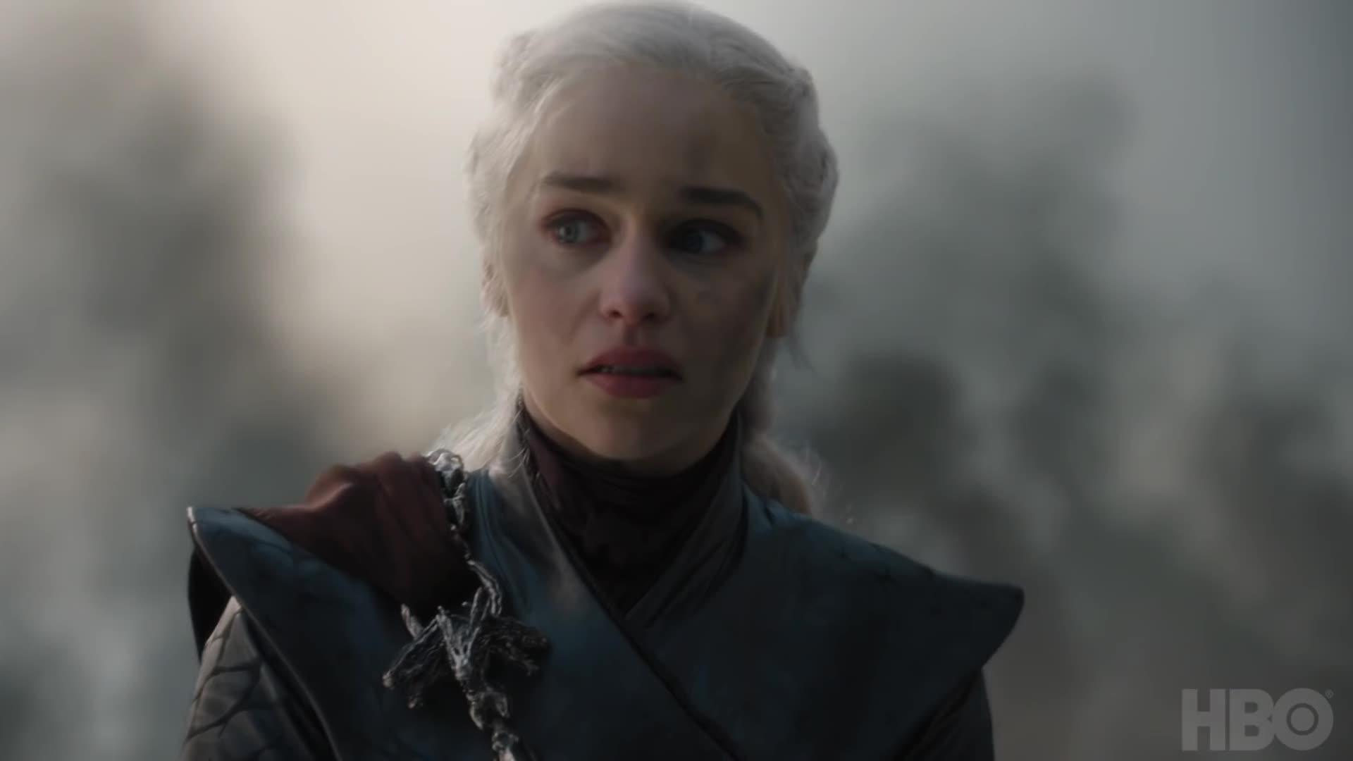 daenerys targaryen, emilia clarke, final season, game of thrones, gameofthrones, got, hbo, lannister, season 8, stark, Daenerys Cracks Game of Thrones | Season 8 Episode 5 GIFs