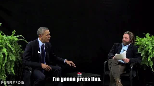 Barack Obama, Between Two Ferns with Zach Galifianakis, FoD, Obama, barack obama, between two ferns, between two ferns with zach galifianakis, fod, funny or die, funnyordie, obama, zach galifianakis, at the buzzer GIFs