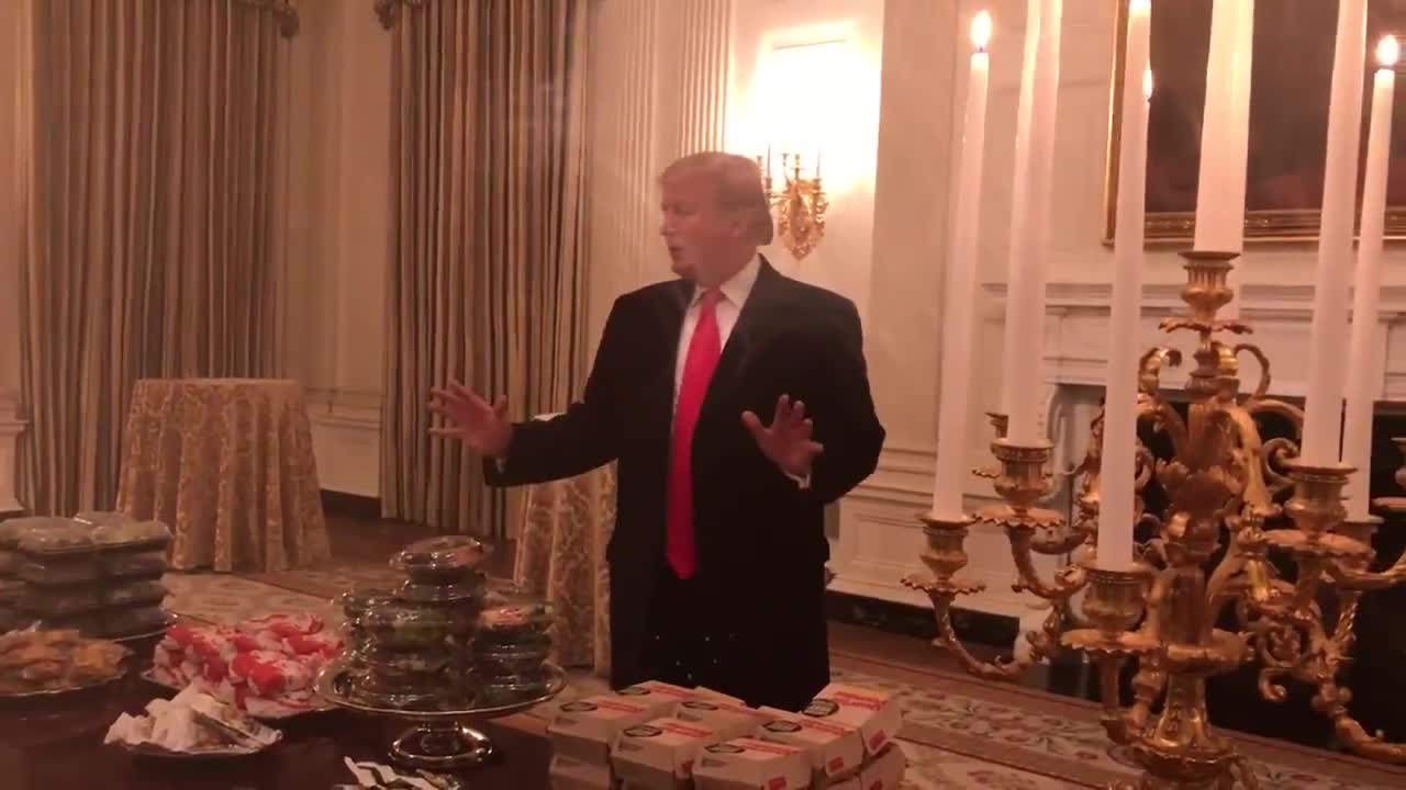 Trump: we have pizzas, 300 hamburgers , many many french fries GIFs