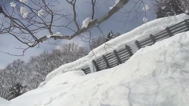 Huge avalanche barrier jumping