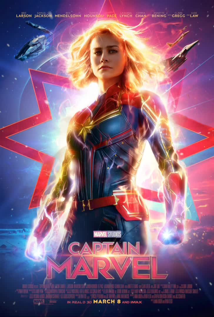 brie larson, captain marvel, carol danvers, celebs, emilia clarke, marvel, marvel cinematic universe, mcu, thefilmcan, I animated the new Captain Marvel poster... GIFs