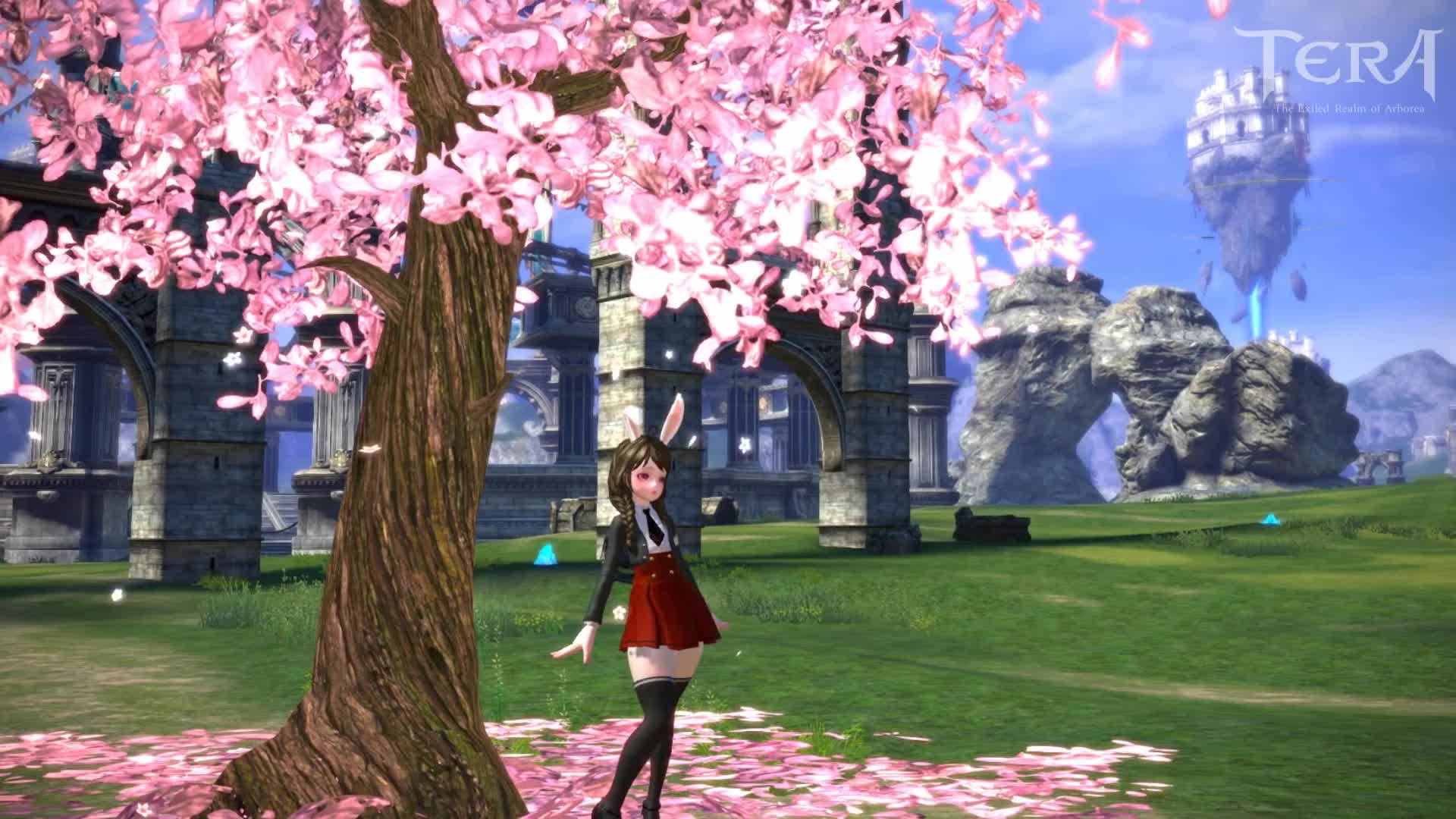 Game On, Gaming, MMORPG, Online Game, Pmang, Pmang TERA, TERA, TERA:The Exiled Realm of Arborea, 【公式】MMORPG「TERA」ひらひら桜スタンプ紹介動画 GIFs