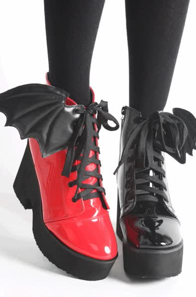 Watch and share Iron Fist Clothing Spring Shoes Bat Wing Patent Red Grande GIFs on Gfycat