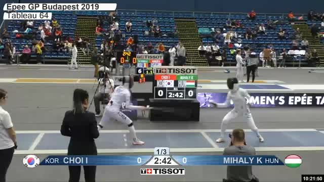 Watch CHOI I 1 GIF by Scott Dubinsky (@fencingdatabase) on Gfycat. Discover more gender:, leftname: CHOI I, leftscore: 1, rightname: MIHALY K, rightscore: 0, time: 00007285, touch: double, tournament: budapest2019, weapon: epee GIFs on Gfycat