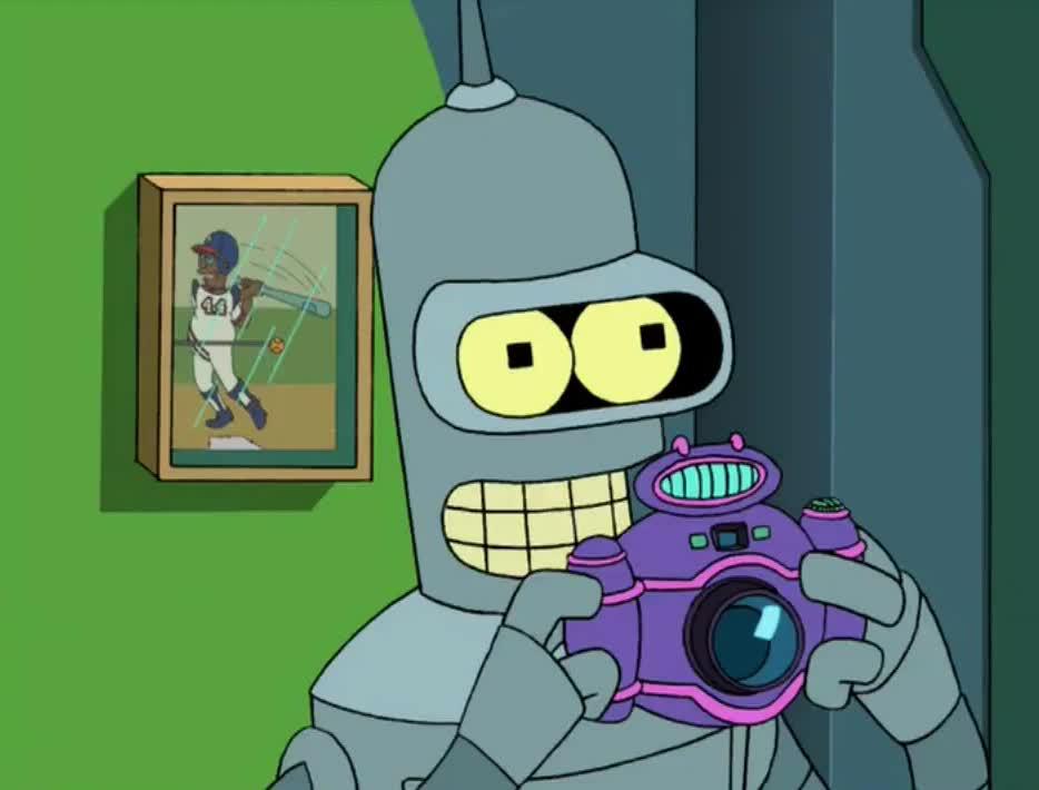 awesome, bender, camera, cool, futurama, like, lol, neat, paparazzi, photo, photographer, pic, picture, robot, shot, snap, take, yeah, yes, Bender - Neat! GIFs