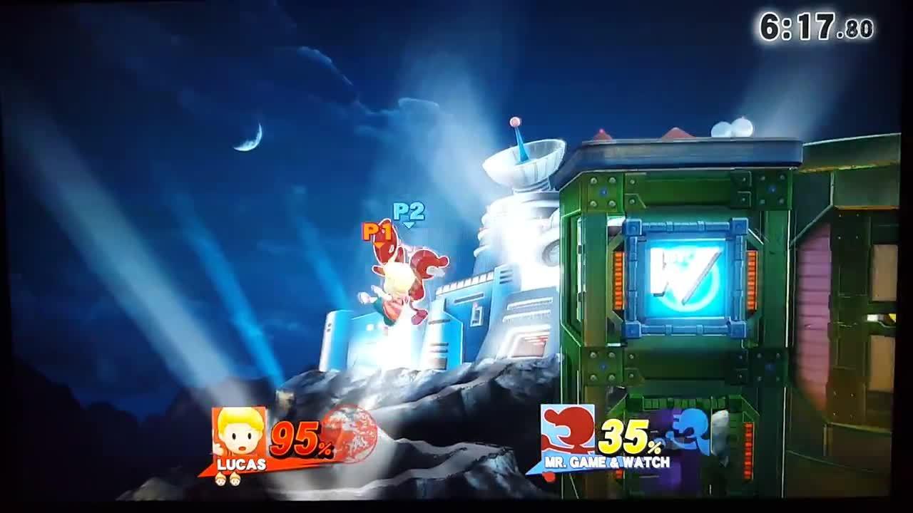 smashgifs, G&W gimps Lucas with upair windbox (reddit) GIFs