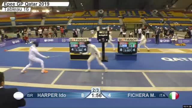 Watch HARPER Ido r 9 GIF by Scott Dubinsky (@fencingdatabase) on Gfycat. Discover more gender:, leftname: HARPER Ido r, leftscore: 9, rightname: FICHERA M, rightscore: 4, time: 00024361, touch: left, tournament: doha2019, weapon: epee GIFs on Gfycat