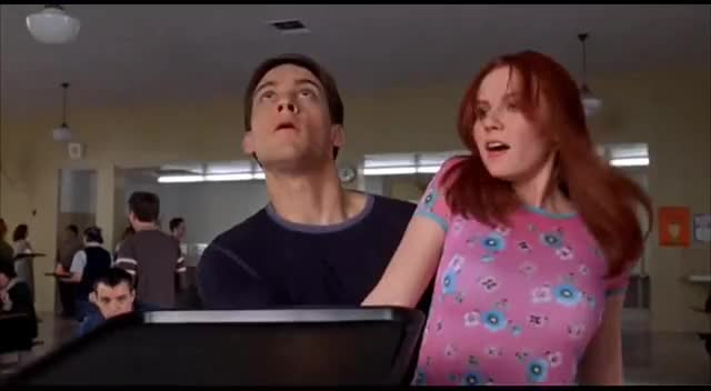 Watch this wow GIF on Gfycat. Discover more cafeteria, celebs, kirsten dunst, spider-man, tobey maguire, wow GIFs on Gfycat