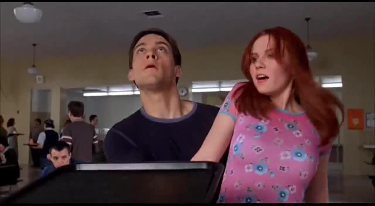 cafeteria, celebs, kirsten dunst, spider-man, tobey maguire, wow, Sweet Kirsten Dunst on Spider-Man 2002 Cafeteria scene GIFs