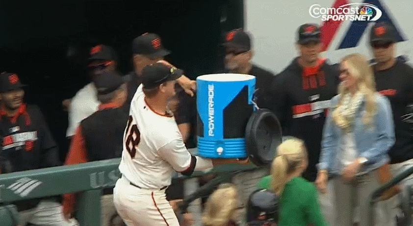 sfgiants, Matt Cain dumping the gatorade on Lincecum (reddit) GIFs