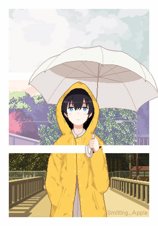 Anime Rainy Day Pixel Animated Iphone Wallpaper Gif By Isaith