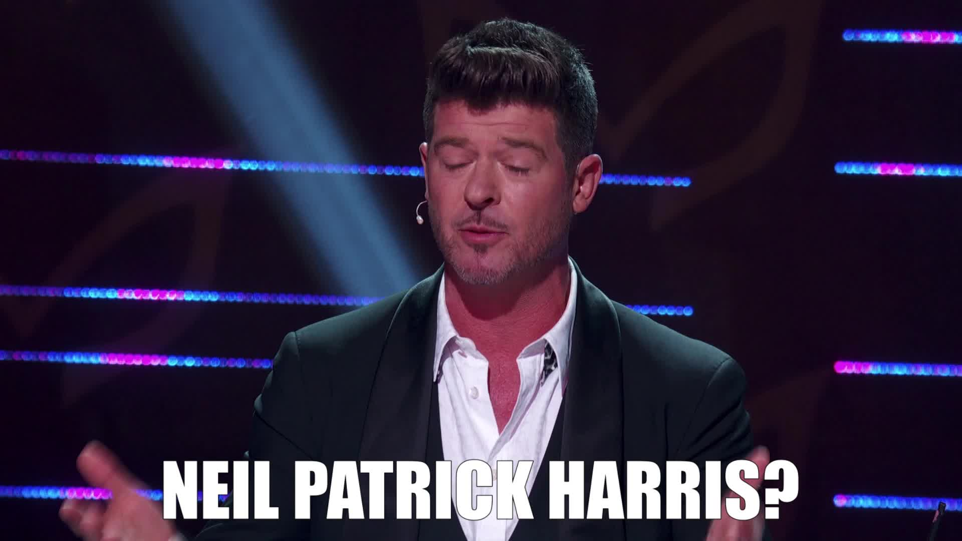 confused, masked singer, neil patrick harris, question, question mark, robin thicke, the masked singer, the masked singer on fox, Neil Patrick Harris? GIFs