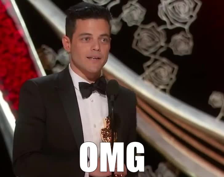 accept, actor, award, bohemian, freddie, god, lead, malek, mercury, my, oh, omg, oscar, oscars, rami, rhapsody, shock, speech, surprise, unbelievable, Rami Malek Accepts the Oscar for Lead Actor GIFs