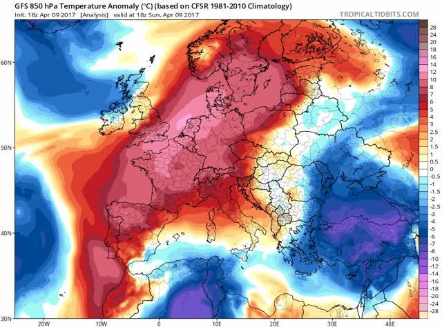 GFS - Temperature anomaly - Europe - April 2017
