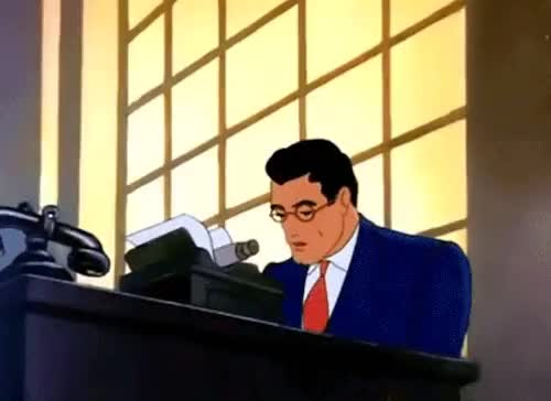 Watch this GIF on Gfycat. Discover more casual superman, gif, journalist, superman, typewriter, typing GIFs on Gfycat