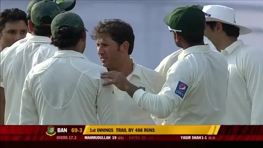 Cricket, lefthanging, Yasir Shah's wicket against Bangladesh followed by a cringey high five. (reddit) GIFs