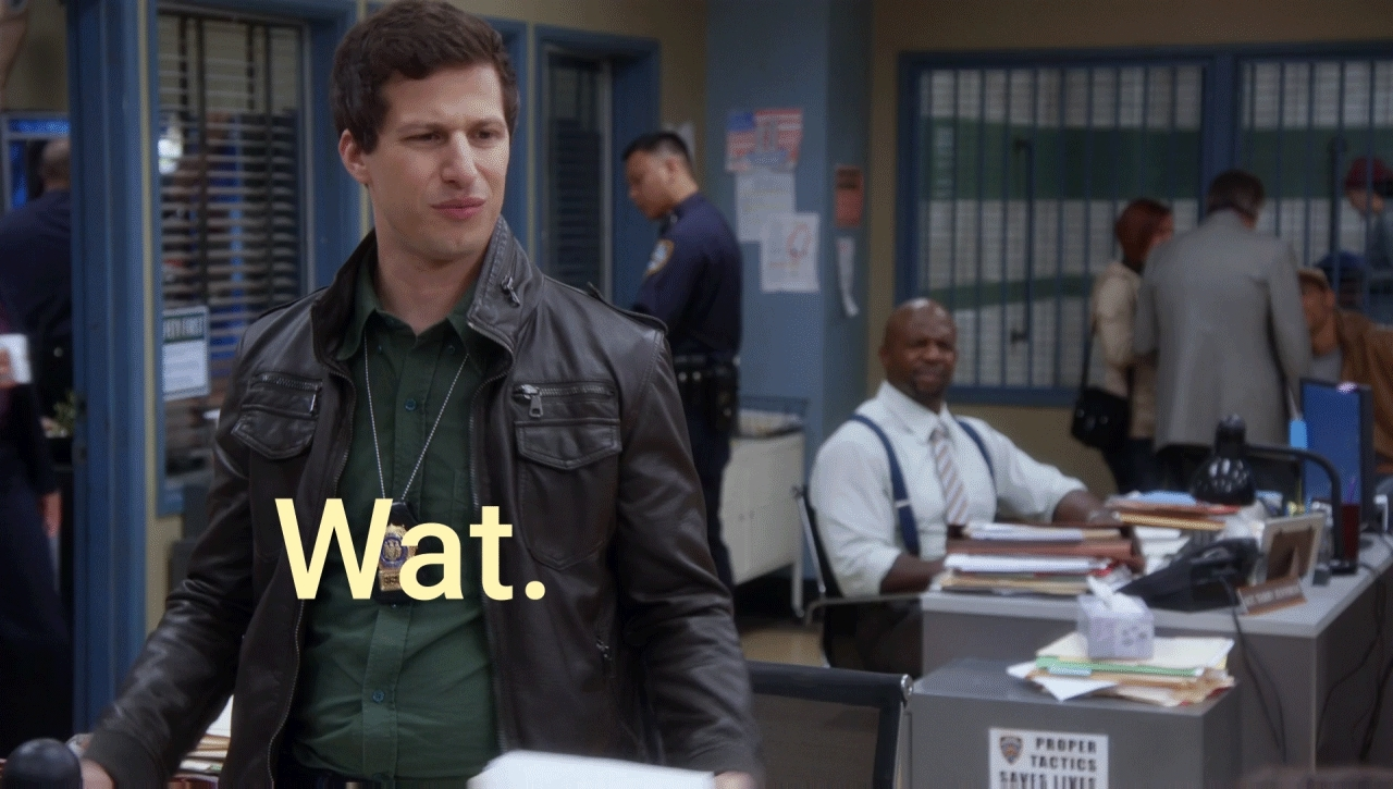 andy samberg, brooklyn 99, brooklyn nine nine, brooklyn nine-nine, highqualitygifs, wat, what, wat GIFs