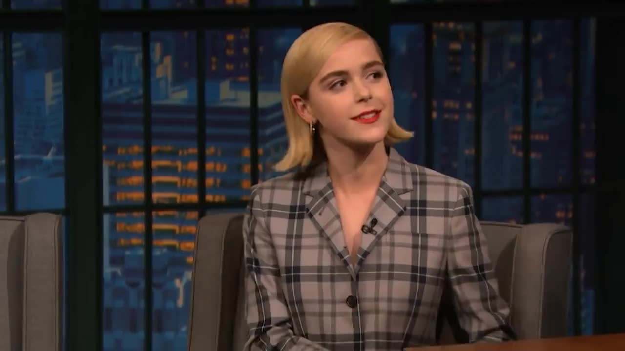 Humor, NBC, Promo, Seth, Stand-Up, carriers, cat, comedy, funny, host, jinora, meyers, parody, satire, television, Kiernan Shipka Discovered Her Cat Allergy on the Set of Chilling Adventures of Sabrina GIFs