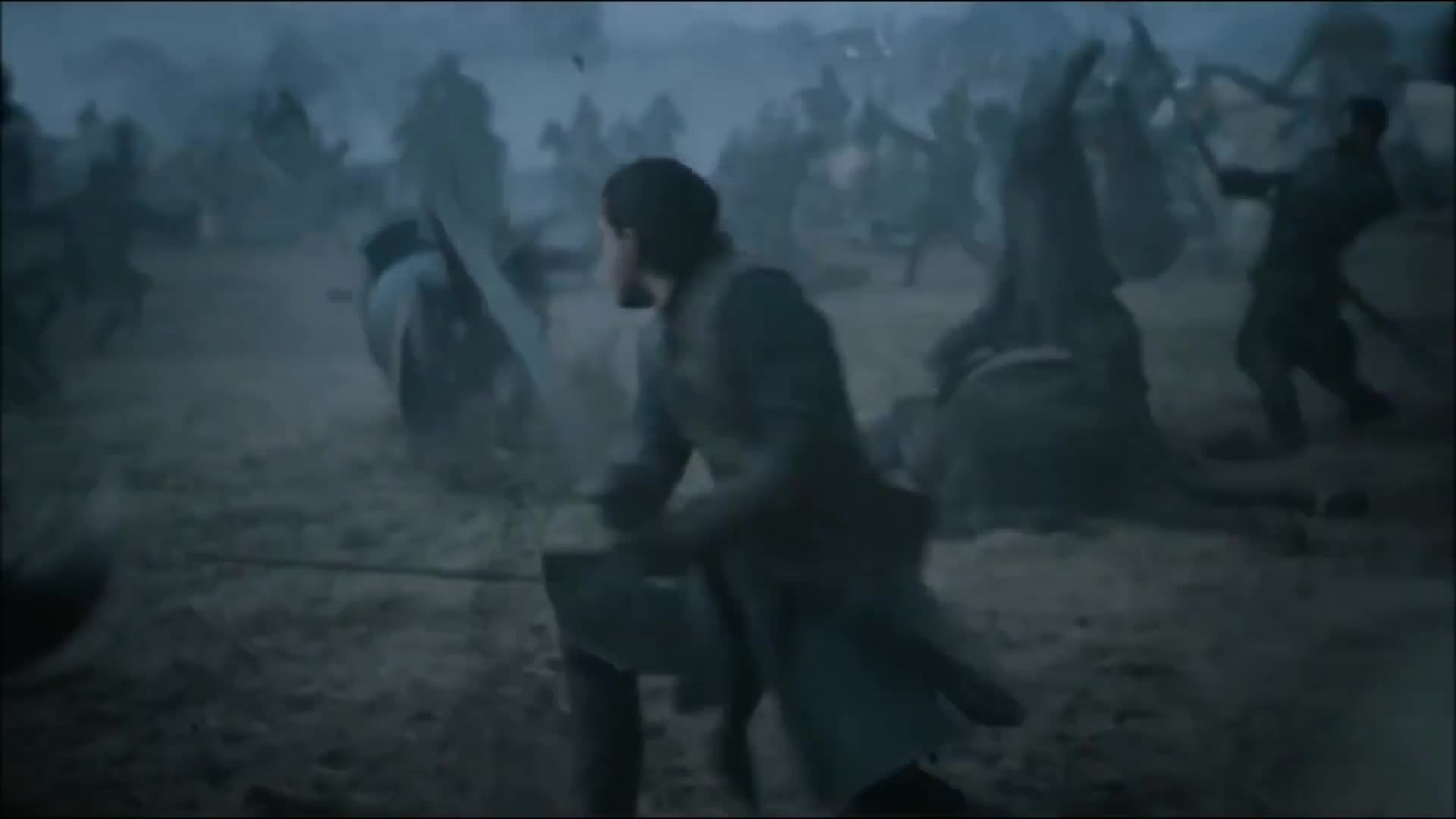 Game Of Thrones Jon Snow Charges Into Battle Battle Of Bastards