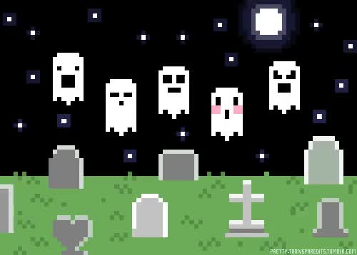 Watch and share Pixel Ghost Graveyard Cute Illustration Art Animated GIFs on Gfycat