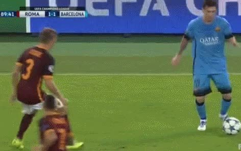 footbaww, soccer, Leo Messi checks on injured opponent rather than celebrating a goal with the team. (reddit) GIFs