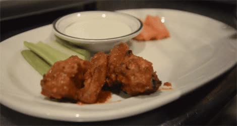 Watch 2. Serve your pilsner-brined Inferno wings with carrots, celery, and blue cheese sauce. GIF on Gfycat. Discover more related GIFs on Gfycat