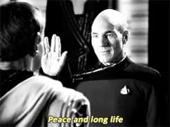 Watch and share Peace And Long Life GIFs and Jean Luc Picard GIFs on Gfycat