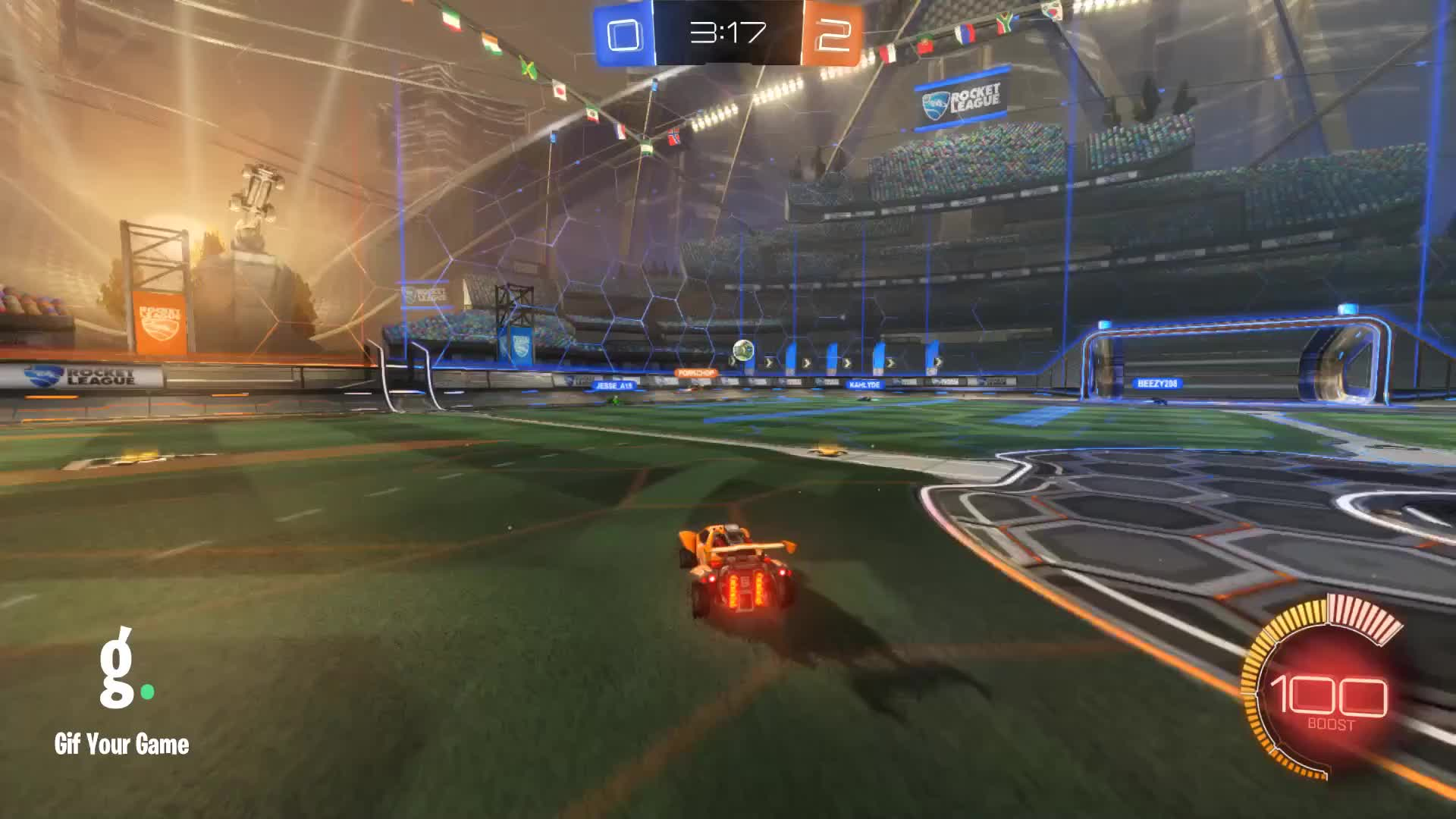 Gif Your Game, GifYourGame, Goal, Rocket League, RocketLeague, YOUgotGREENED, Remixed Goal 3: YOUgotGREENED GIFs