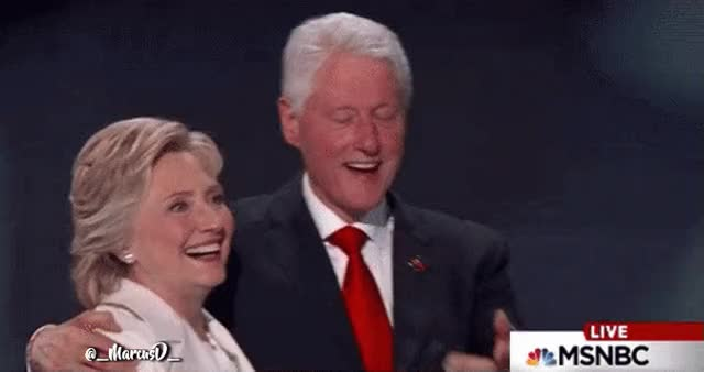Watch and share Hillary Clinton Shocked Looked With Bill Reaction @ DNC GIFs by MarcusD on Gfycat