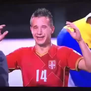 Watch and share Jovanović Vukašin Plače Od Radosti U20 SRBIJA GIFs on Gfycat