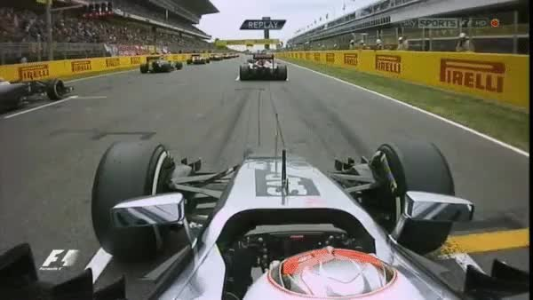 Watch Magnussen gets on the grass at the start - Spain 2014. (reddit) GIF by @cubejam on Gfycat. Discover more formula1gifs GIFs on Gfycat