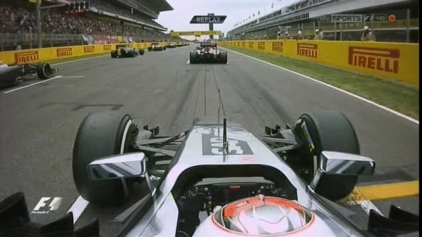 formula1gifs, Magnussen gets on the grass at the start - Spain 2014. (reddit) GIFs
