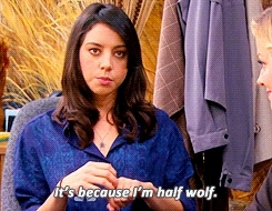 april ludgate, aubrey plaza, not mine, parks and rec, parks and recreation, wolf, Aubrey Plaza and animation GIFs