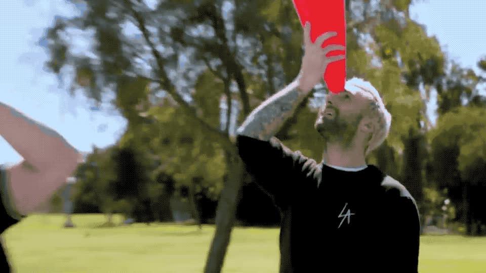 adam, balance, bff, carpool, childish, cones, corden, drunk, dumb, fun, head, james, karaoke, levine, lol, play, silly, stay, steel, traffic, Carpool karaoke with Adam Levine GIFs