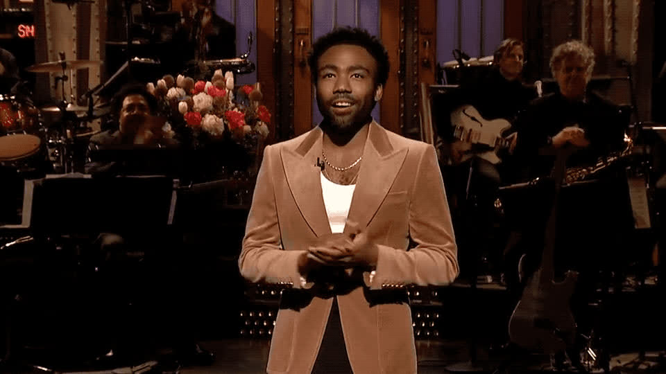 blush, comment, cute, donald, embarrassed, glover, host, live, much, night, no, present, saturday, shy, snl, thank, thanks, very, words, you, Donald Glover - Thank you GIFs