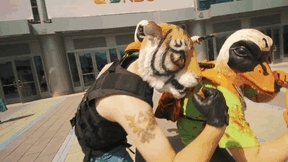 Hotline Miami 2, The Fans, TheFans, Wondercon 2015, animated gif, cosplay, hotline miami, hotlinemiami, hotlinemiami2, wondercon2015, Clip of me and the rest of the The Fans at Wondercon fromKil GIFs