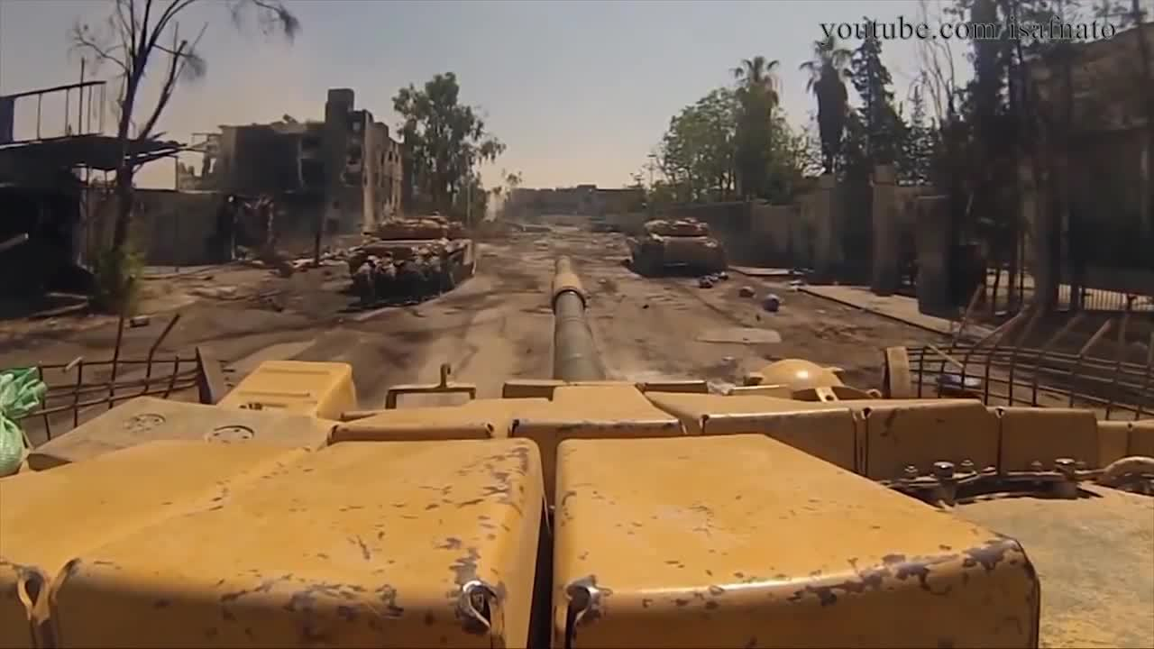 CombatFootage, combatfootage, T-72s with infantry supporting clear a road, Syria. (reddit) GIFs