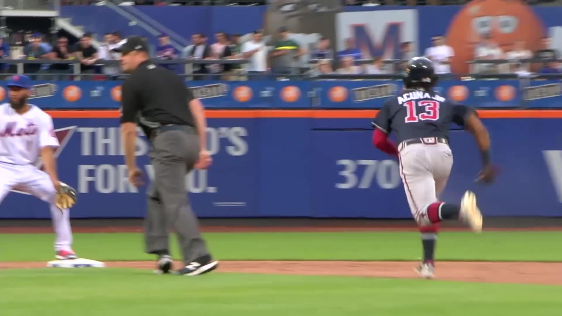 atlanta, atlanta braves, baseball, braves, Ronald Acuña Jr. slides into second, gets dirt on his face. GIFs