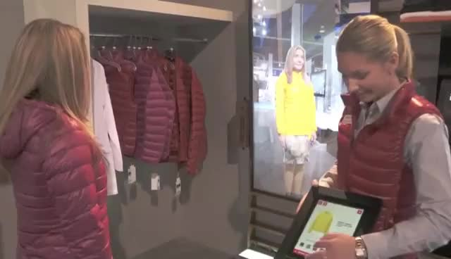 Sharp Electronics UNIQLO Magic Mirror Display Technology GIFs
