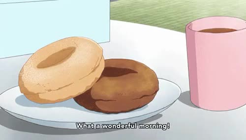 Watch this GIF on Gfycat. Discover more anime, cafe, cafe au lait, coffee, dessert, donut, food, gif, ilme, latte, seiyu's life, sore ga seiyuu, sweets GIFs on Gfycat